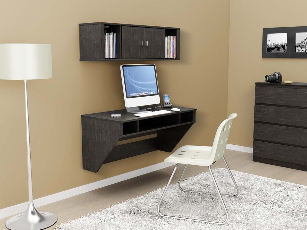 High Quality Wall Mounted Floating Computer Desk And Hutch W/ Storage NEW