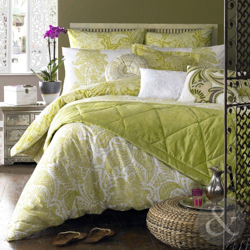 Elizabeth Hurley Paisley Duvet Cover 100 Cotton Luxury Olive Green Bedding