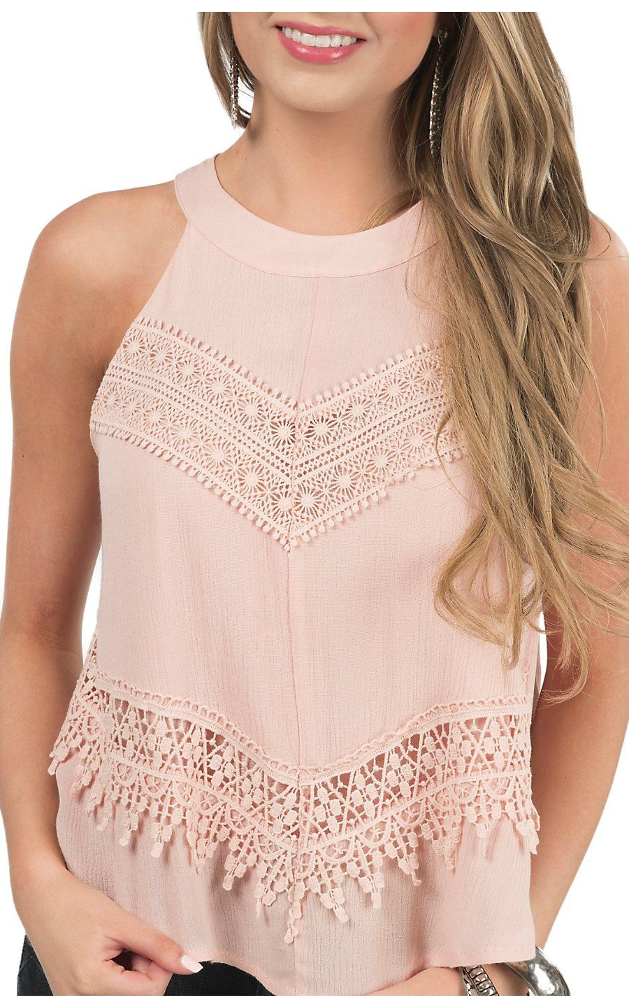 California Moonrise Women\'s Blush Crochet Halter Neck Tank ...