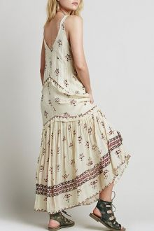 V Neck Floral Pattern Sleeveless Maxi Dress