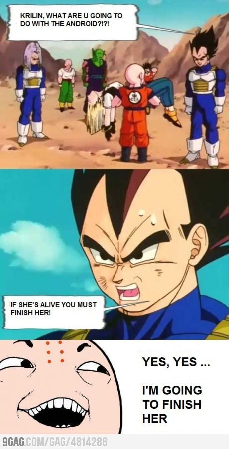 Krilin Is Going To Finish Her Anime Dragon Ball Funny Anime Pics Anime Dragon Ball Super