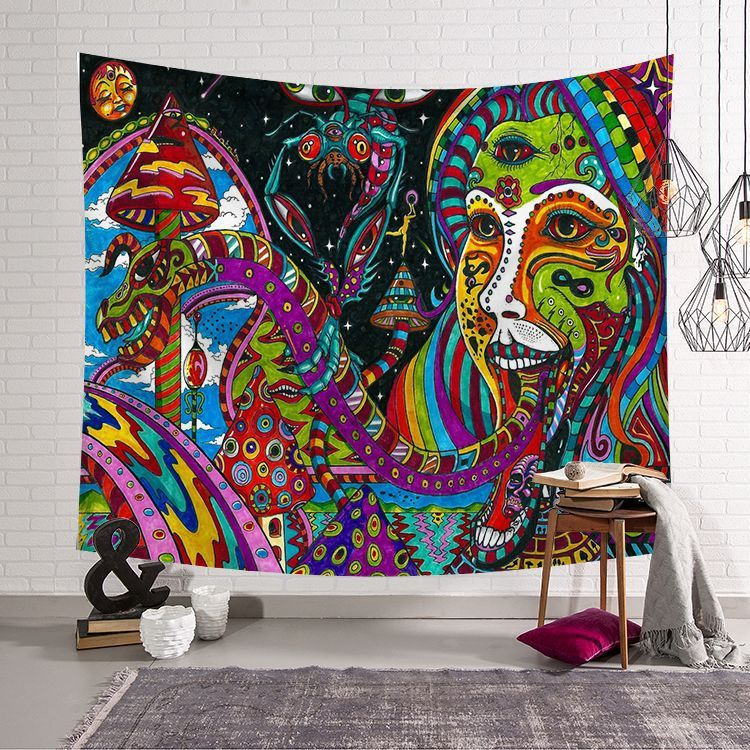 Lots Mysterious Skull Mandala Wall Tapestry Bedspread Wall Hanging Trippy Decor