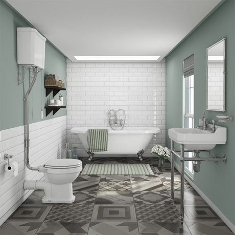 Newbury Traditional Back-to-Wall Roll Top Bath Suite in ...