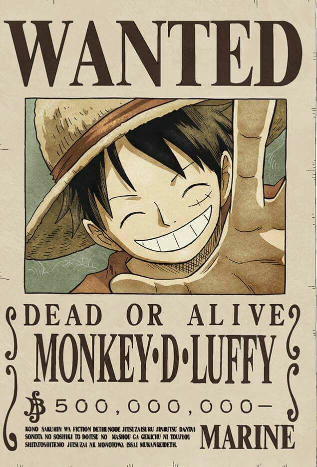 Wanted Monkey D Luffy One Piece Bounties One Piece Luffy One Piece Wanted