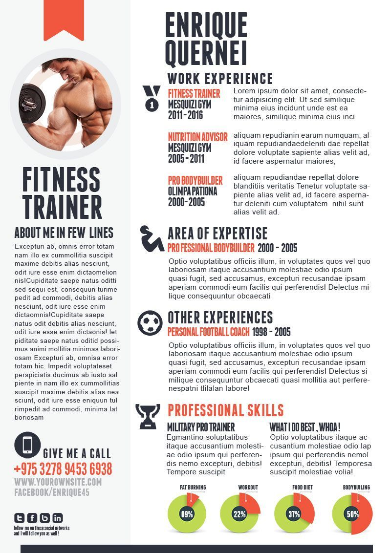 This Article Will Help You Write Fitness Trainer Resume It Will Take You Through The Information Required And The Organ Cv Sportif Exemple Cv Curriculum Vitae