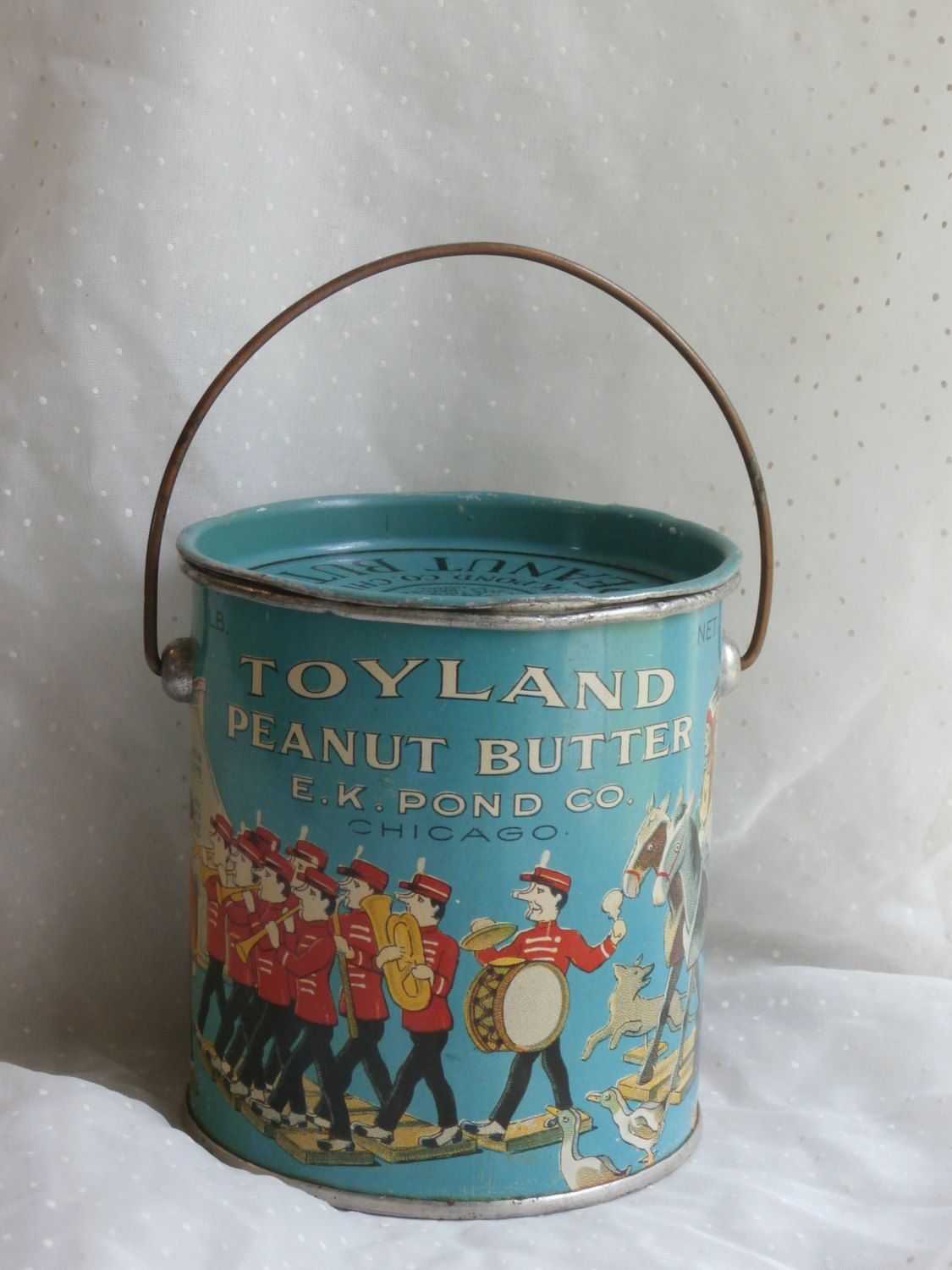 Toyland Peanut Butter Bail Handle Tin Pail, E K Pond Co, Chicago - JUST  LISTED