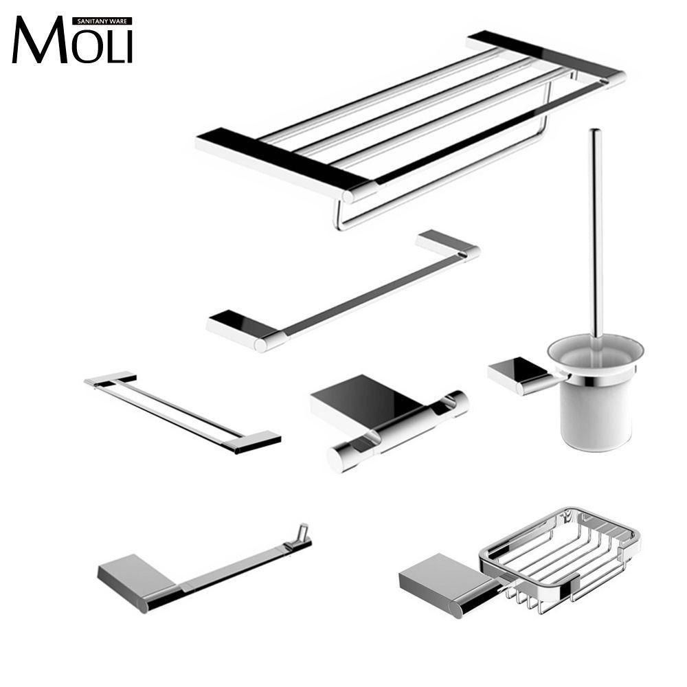Buy Modern Bathroom Accessories Set Wall Mount Chrome Finish Towel ...