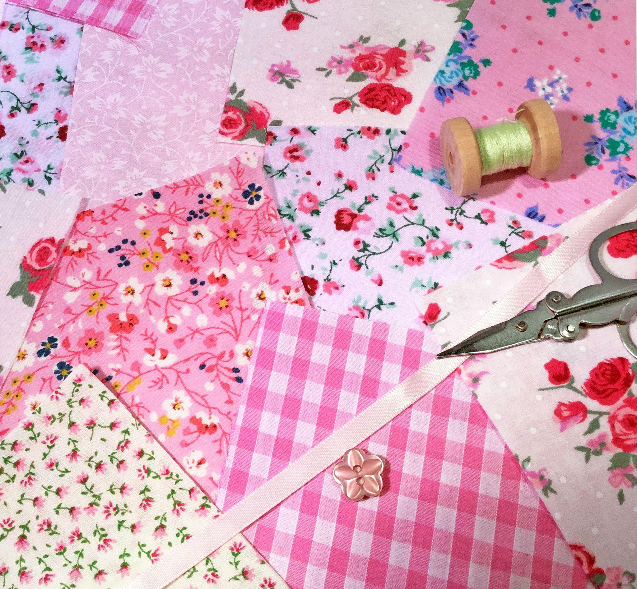 x 50 Pre Cut 10x10cm Patchwork Squares in Pretty Pink