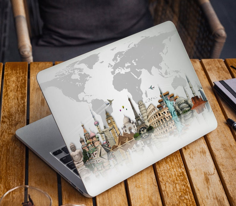 World Map Laptop Skin Travel Notebook Vinyl Decal Dell Hp Etsy Laptop Skin Laptop Design Laptop Cover Stickers
