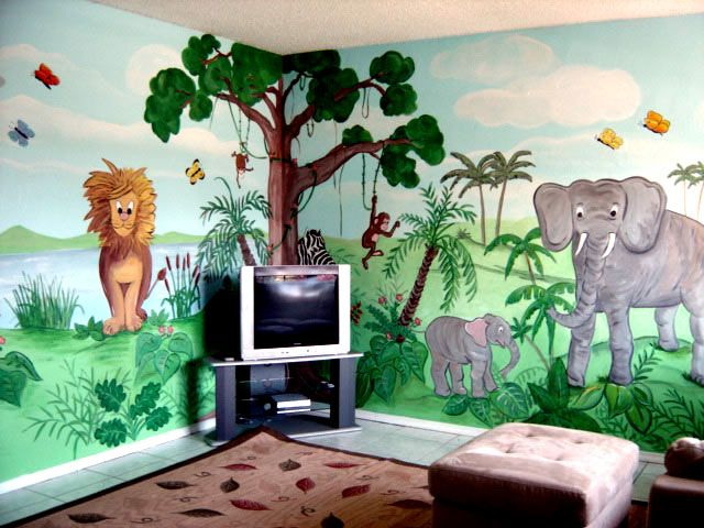 Kids Bedroom Jungle Theme cartoon characters or animals mural painting for the kids room