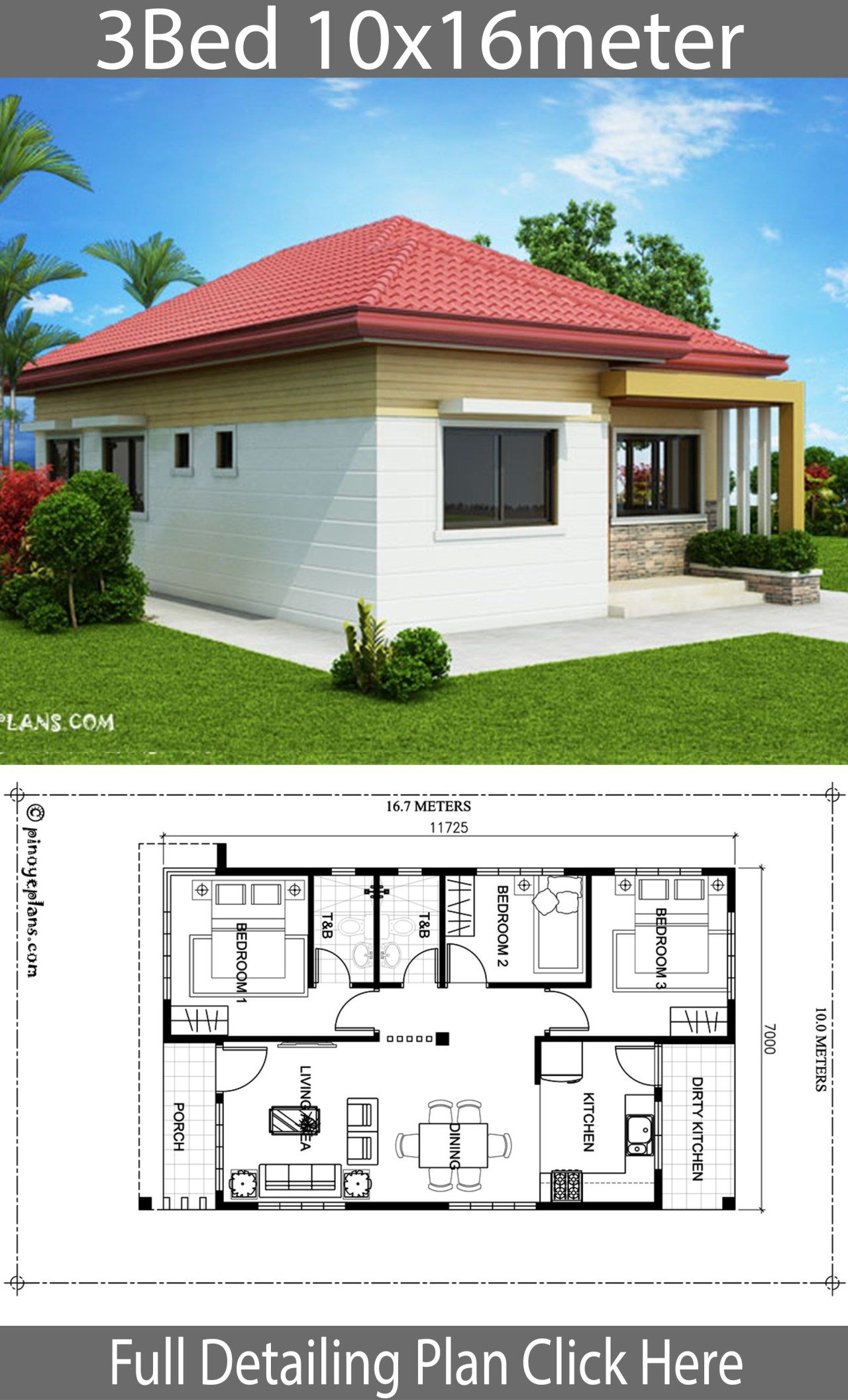 Home Design 10x16m With 3 Bedrooms Home Ideas Bungalow Style House Plans Cottage Style House Plans House Construction Plan