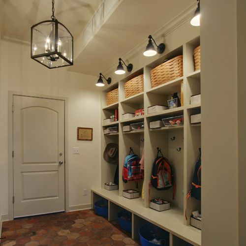 cubbies... two for robes, towels, slippers and eventually baby bath ...