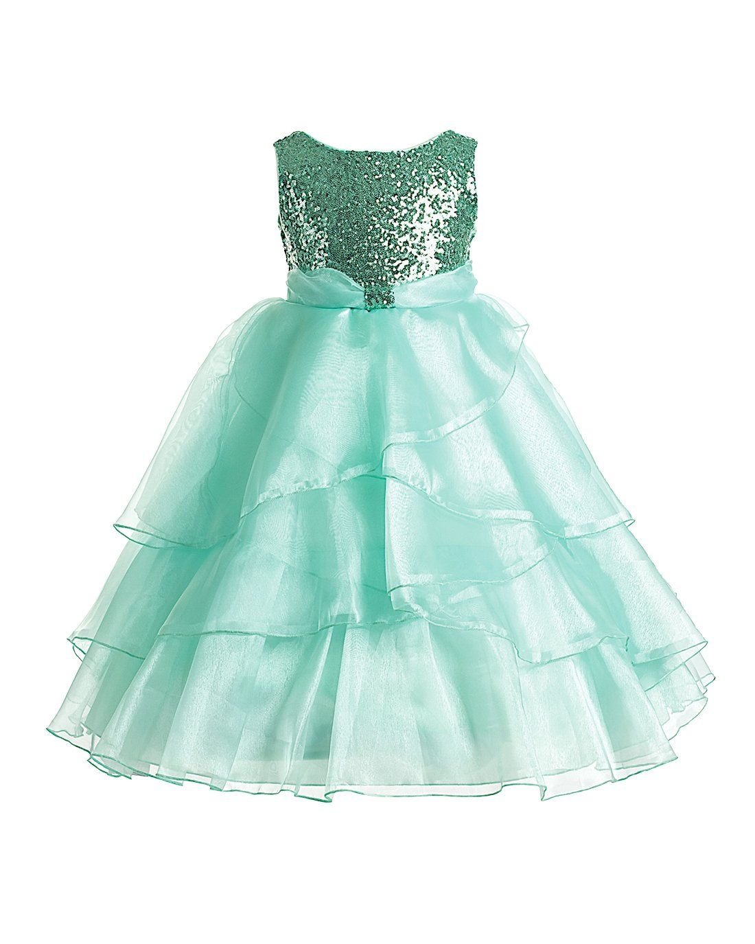 Joy Kids - 3 Colors - Big Girls Sequin Top Tiered Organza Special Occasion Dress 10 Mint