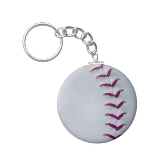 Softball Keychain with Softball Stitches