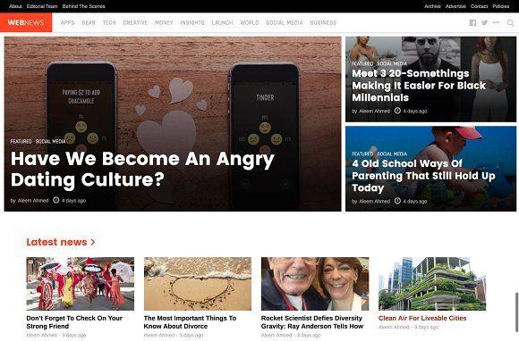 WebNews - Tech Magazine WP Theme Tech magazines, Website themes
