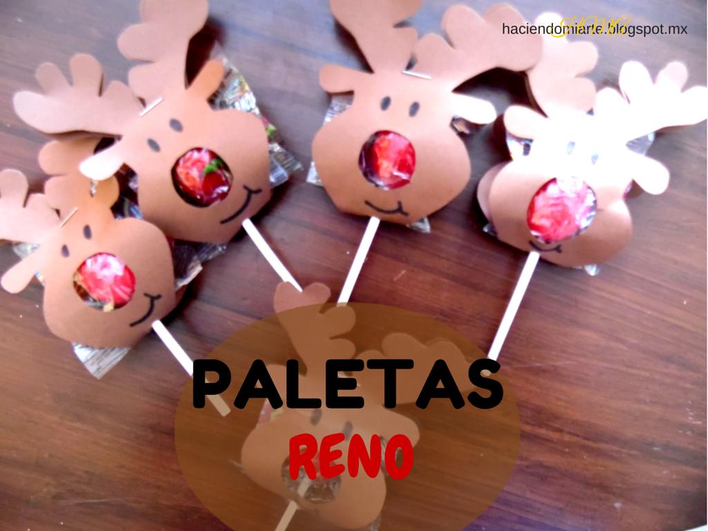 Paletas De Reno O Paletas Rodolfo Un Regalo Muy F Cil Y Econ Mico  ~ Ideas Para Regalar En Navidad Manualidades