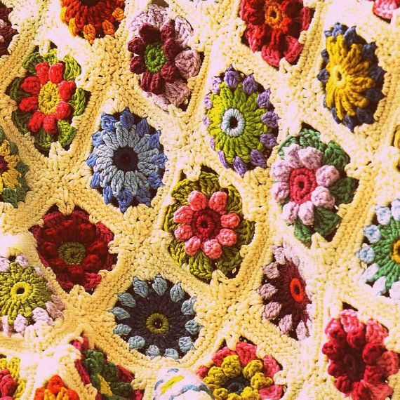 Vintage Country Garden Flower Granny Square Afghan Crochet Pattern. $5.00, via Etsy.