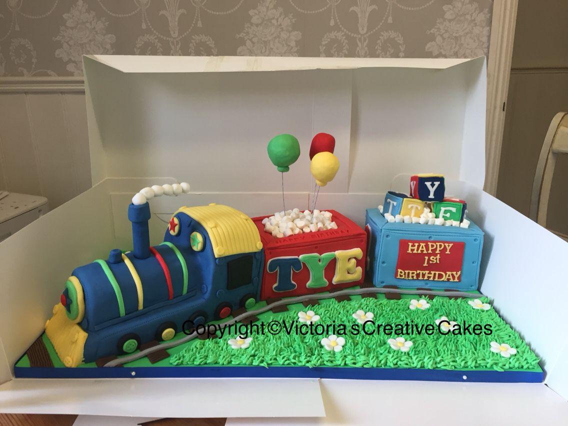 Cute train boys birthday cake Yannick 3rd birthday cake