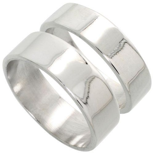 Sterling Silver Flat Wedding Band Ring Set His and Hers 6 mm + 7 mm sizes 4 to 13.5, Sabrina Silver. $68.31