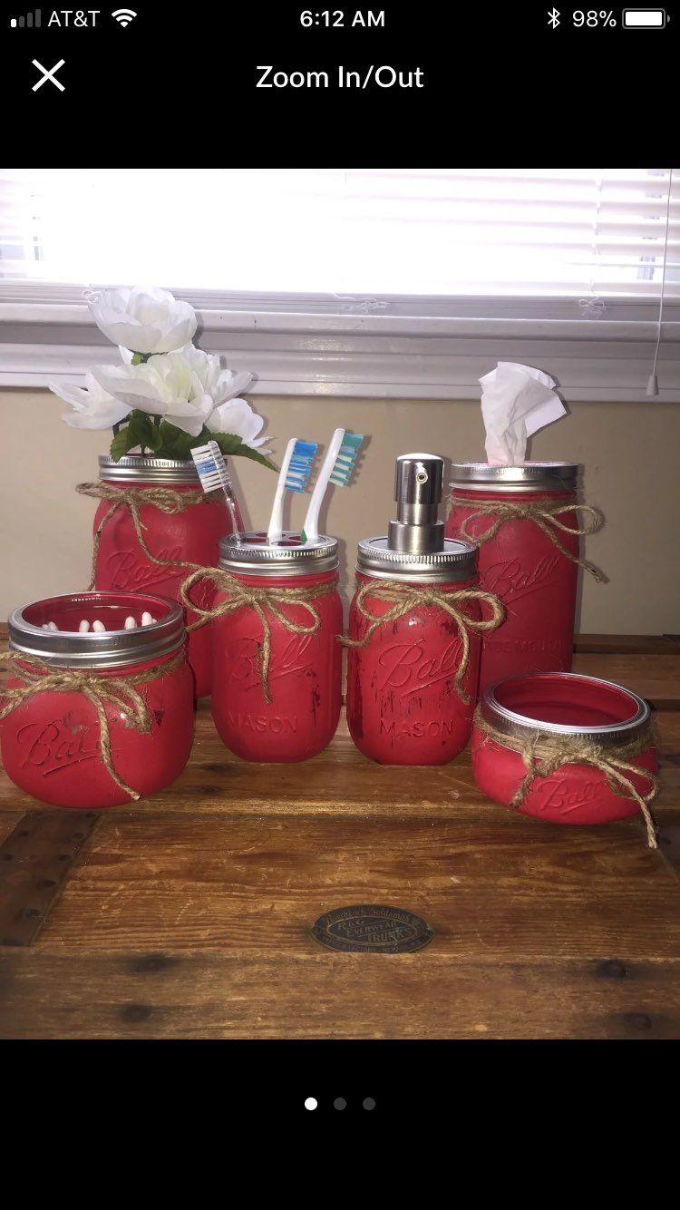 6 Jar Bathroom SetRed Mercari The Selling App Red