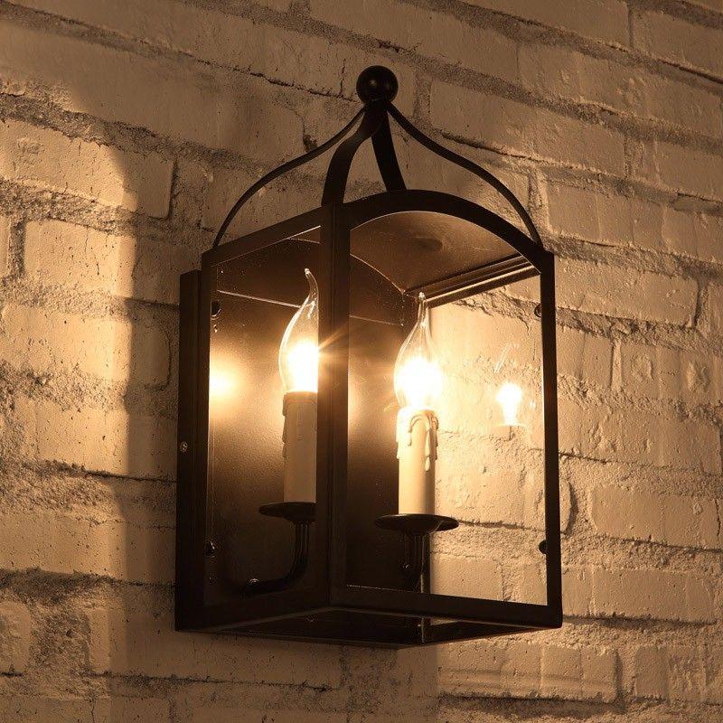 Industrial Loft 2 Light Black Metal Lantern Wall Lamp With Candelabra Industrial Wall Lights Wall Lamp Metal Lanterns
