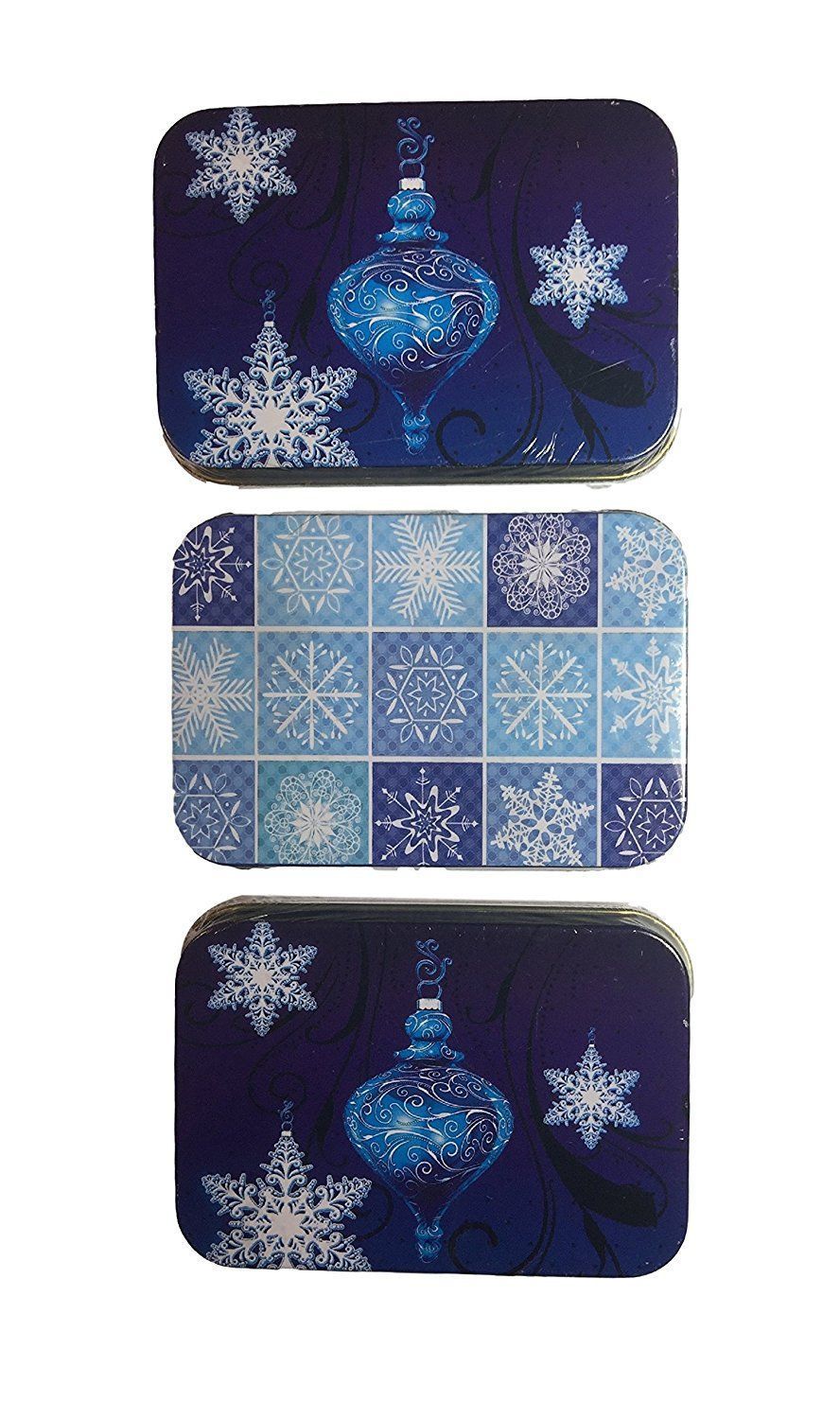Christmas gift card holders tin box blue ornaments and