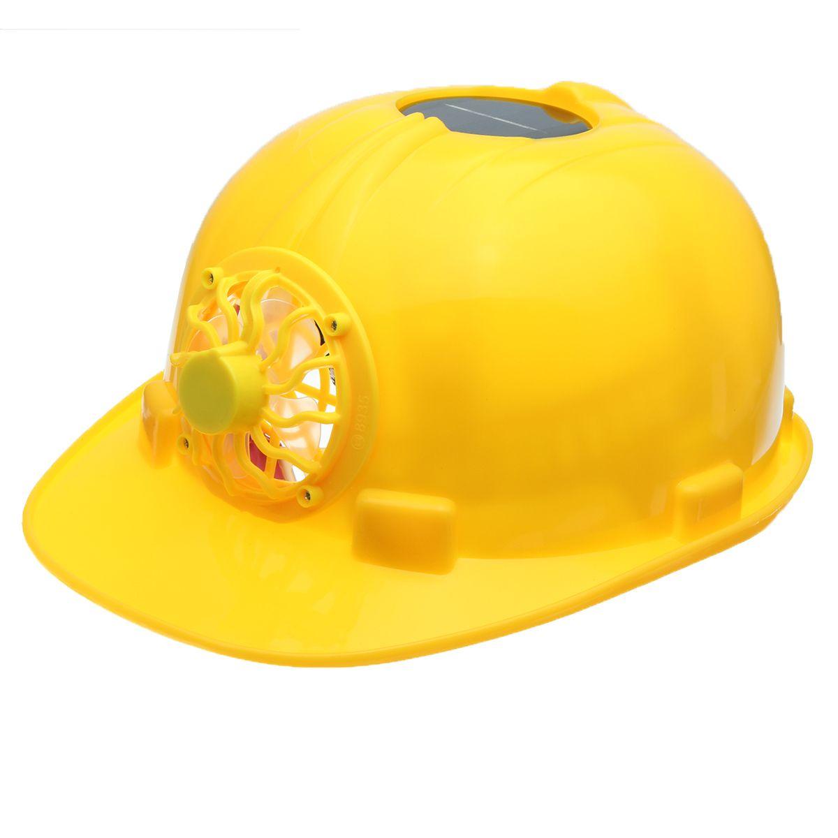 Yellow Solar Power Safety Helmet Work Hard Hat Solar Panel Cooling