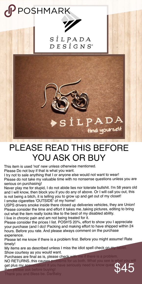 SILPADA RETIRED EARRINGS ✨CLOSING✨SUNDAY A.M.✨ These retired earrings match the necklace in my closet. Very sweet 925 SS oxidized open hearts with the signature arrowhead stamp on SS fishhook wires..🌺 SORRY NO OFFERS, Thank you ✔️🙃NOW ONⓂ️🤗 Silpada Jewelry Earrings