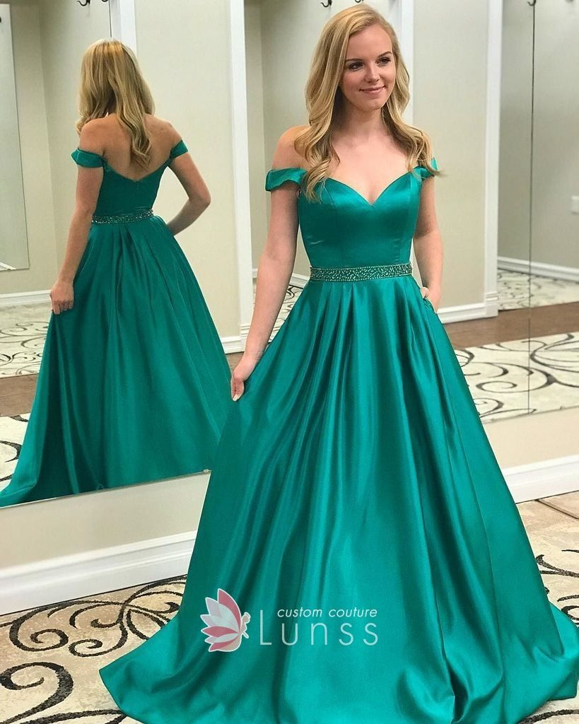 Classic green satin offtheshoulder floor length ball gown prom