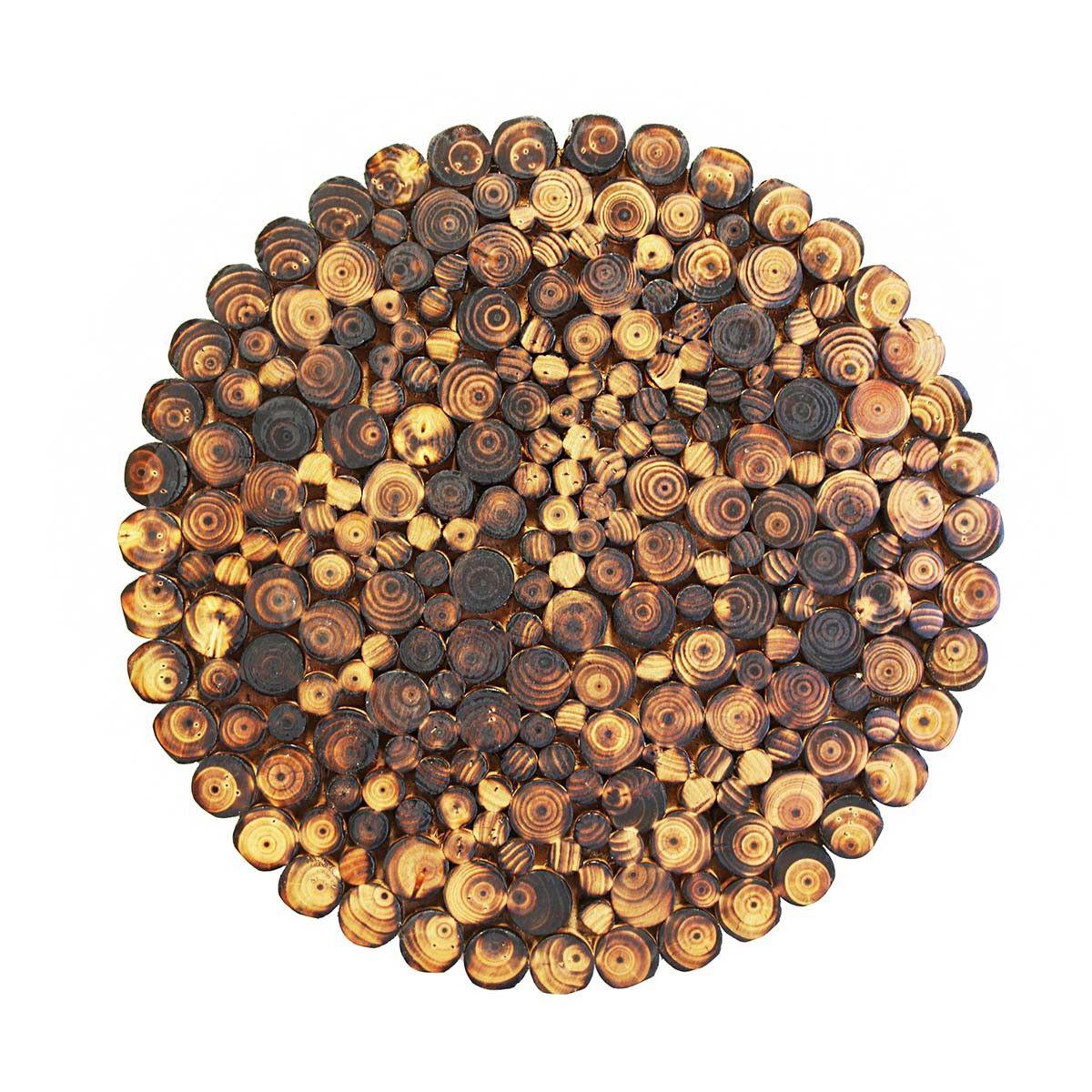 Fab burnt fir wood wall disc