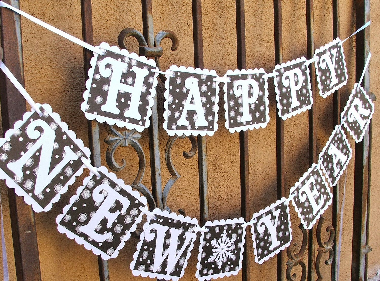 happy new year banner glittered black white hanging sign 2495 via etsy