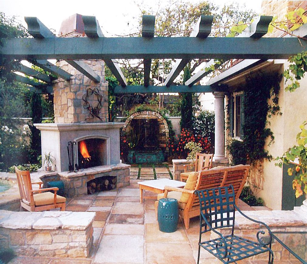 fireplace pergola patio Sunset Patio Book