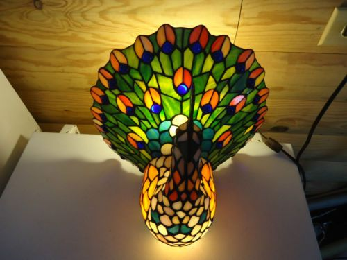 Stain Glass Tiffany Style Peacock Table Lamp Z Auction Items For