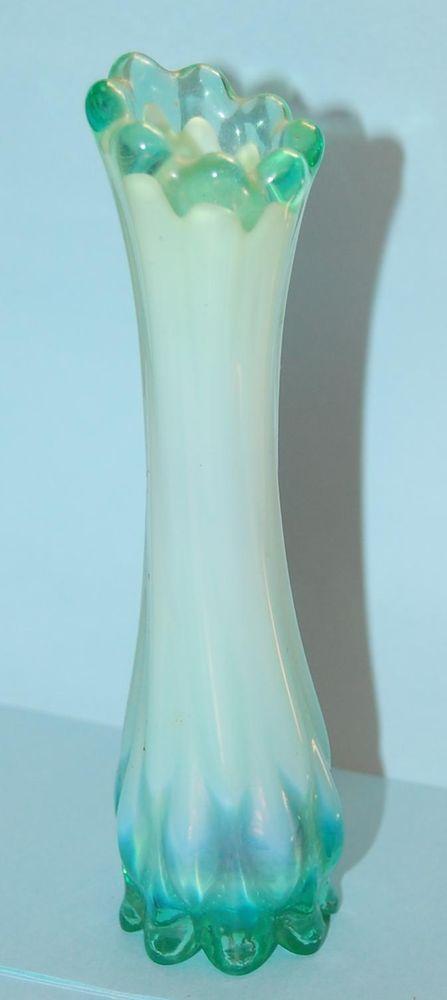 Gorgeous Vintage Fostoria Heirloom Crested Light Blue Green Glass Bud Vase Fostoria Vases