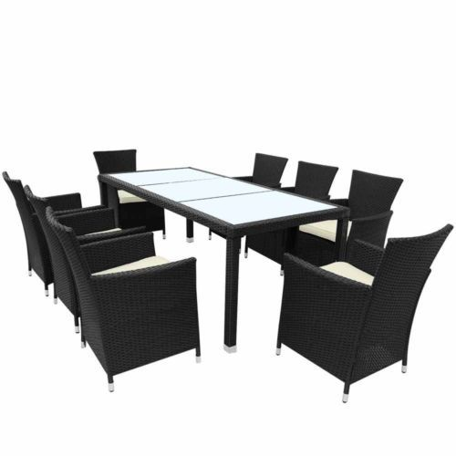 Rattan Table & Chair Set Garden Patio 8 Seat Outdoor Dining ...