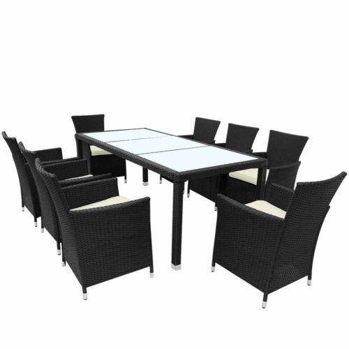 Rattan Table & Chair Set Garden Patio 8 Seat Outdoor Dining ...