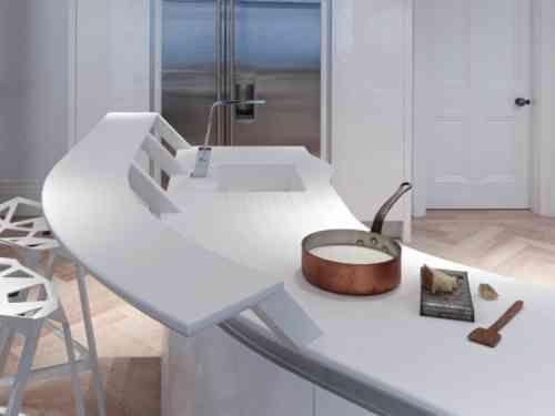 Photo cuisine avec plan de travail moderne en 65 idées Corian and - Table De Cuisine Avec Plan De Travail