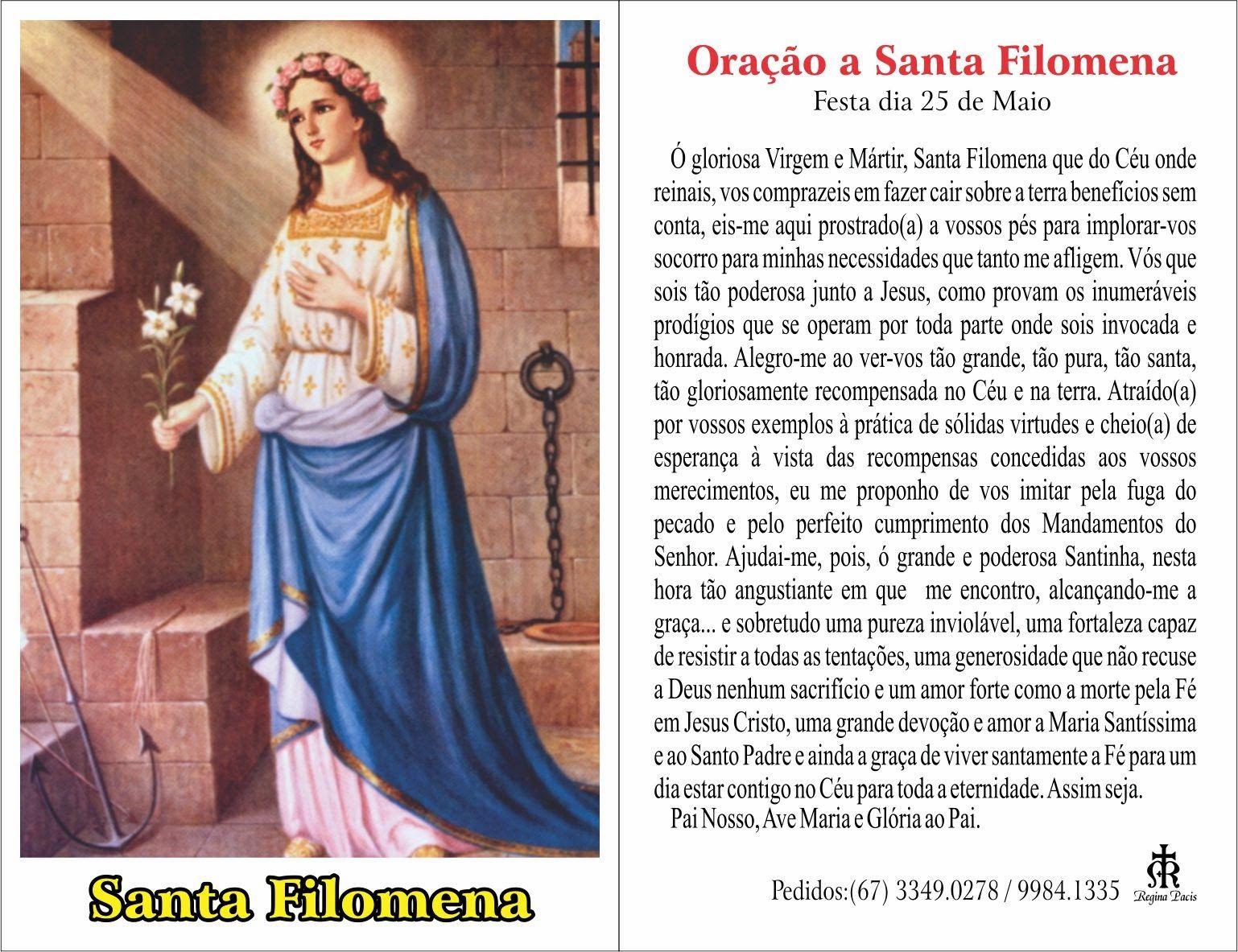 Oracao A Santa Filomena Com Imagens Filomena Oracao Filho Da Luz