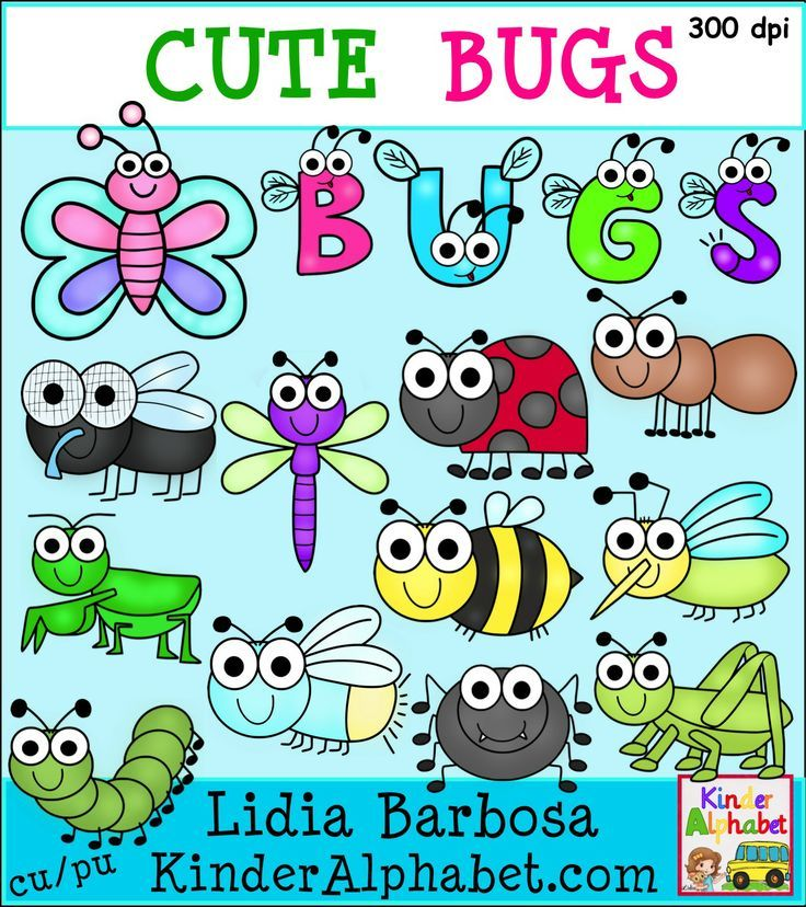 Clip art for teachers: cute bugs! Includes color and black and white images. Perfect for #spring activities.