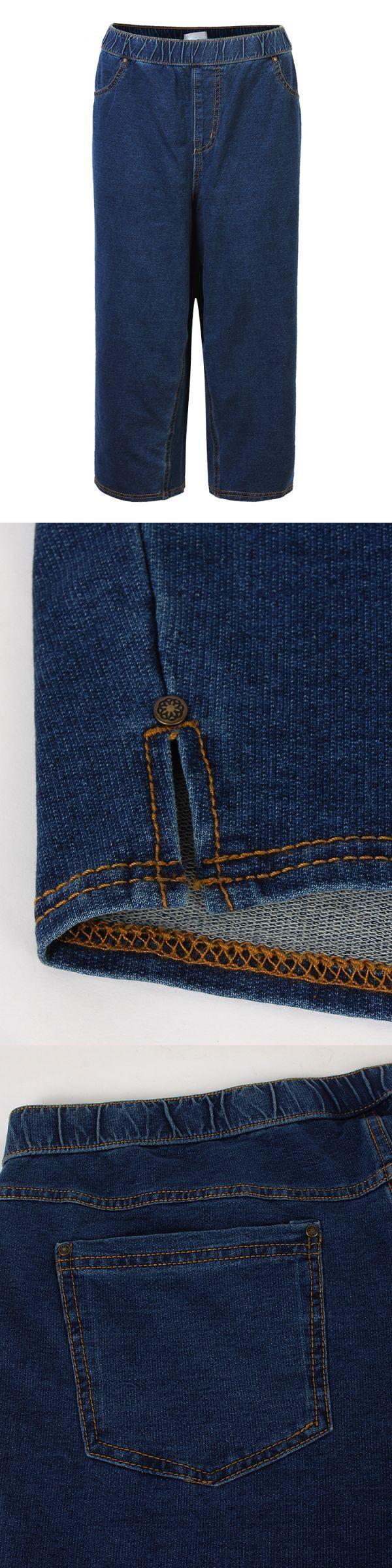 Kohl 8217 S Denim Jeans Loose Women Elastic Waist Pure Color Harem Fifth