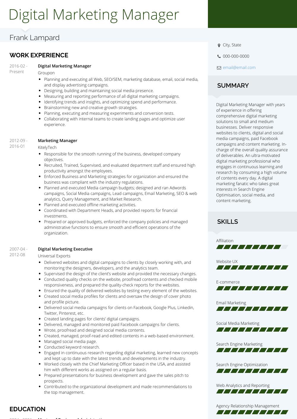 Digital Marketing Resume Samples and Templates