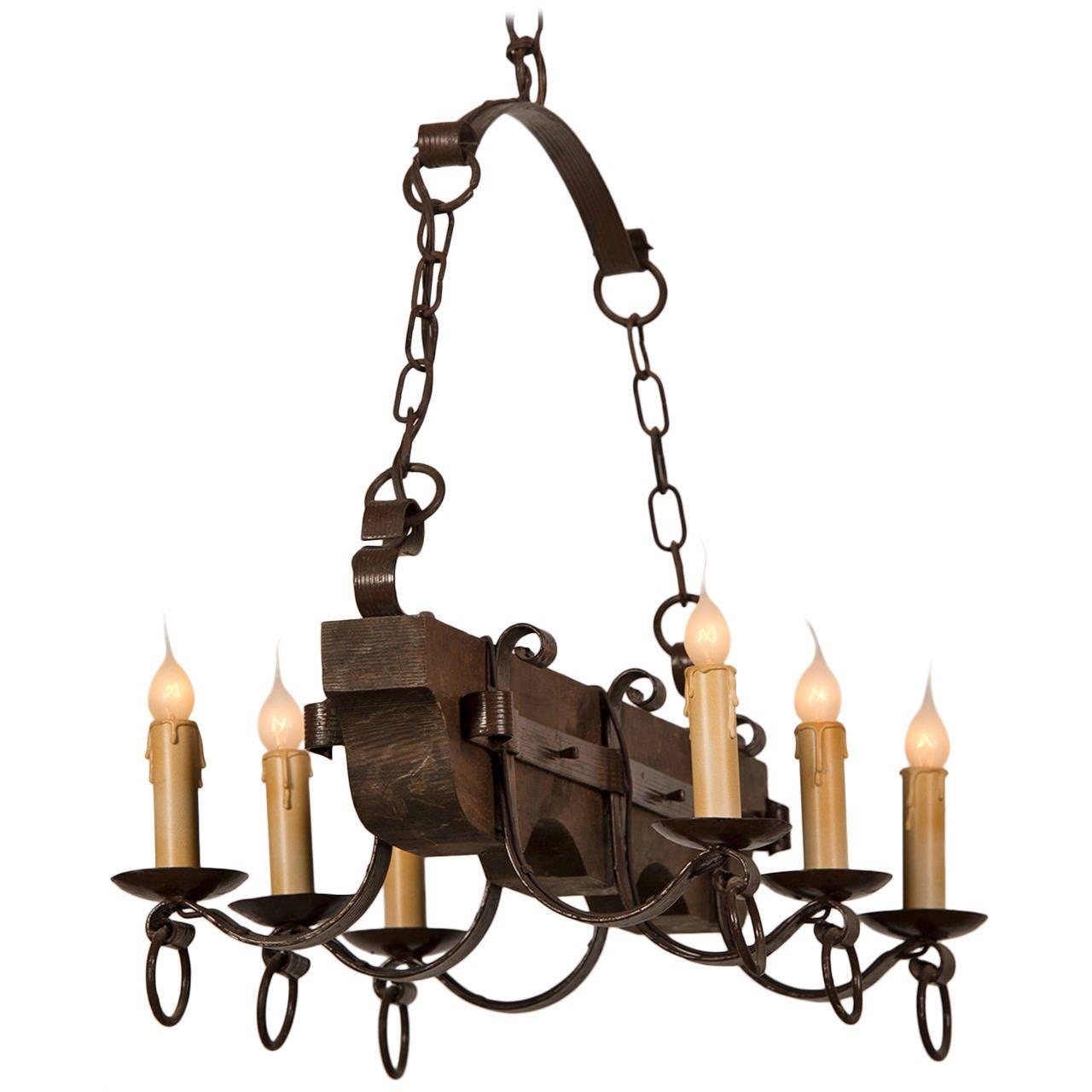 Vintage french painted wood and iron ox yoke chandelier circa 1940 vintage french painted wood and iron ox yoke chandelier circa 1940 arubaitofo Image collections
