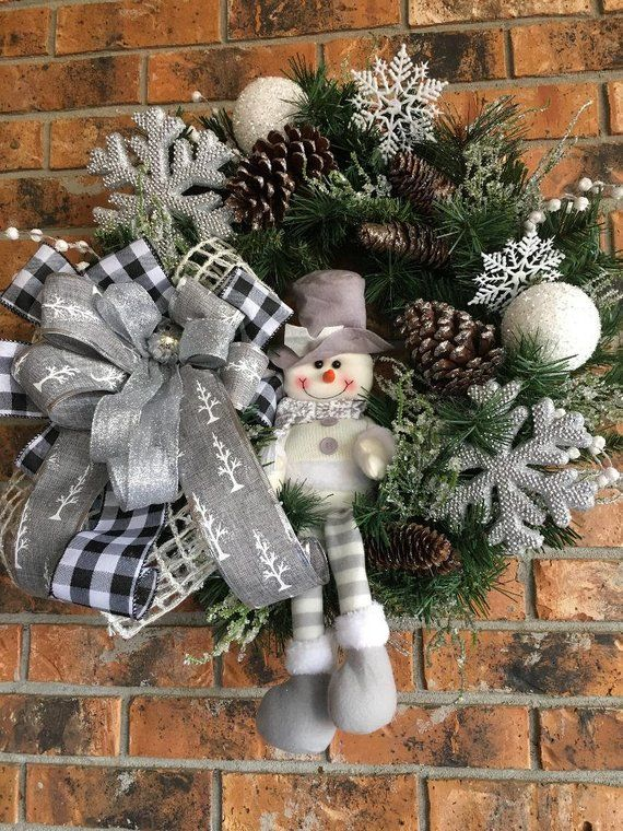 Christmas Wreath Christmas Snowman Winter Wreath Silver Christmas Wreath Snowman Wreath Christmas Wreaths Diy Christmas Decorations Holiday Decor Christmas