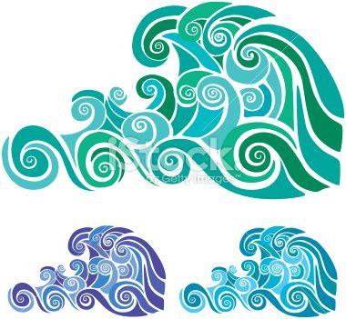 Stencil wave pattern in three color versions retrofuturism for