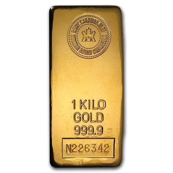 1 Kilo Solid Gold Bar Royal Canadian