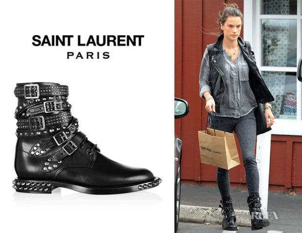 Alessandra Ambrosio s Saint Laurent  Signature Rangers  Studded Leather  Boots ae7e8918a52b