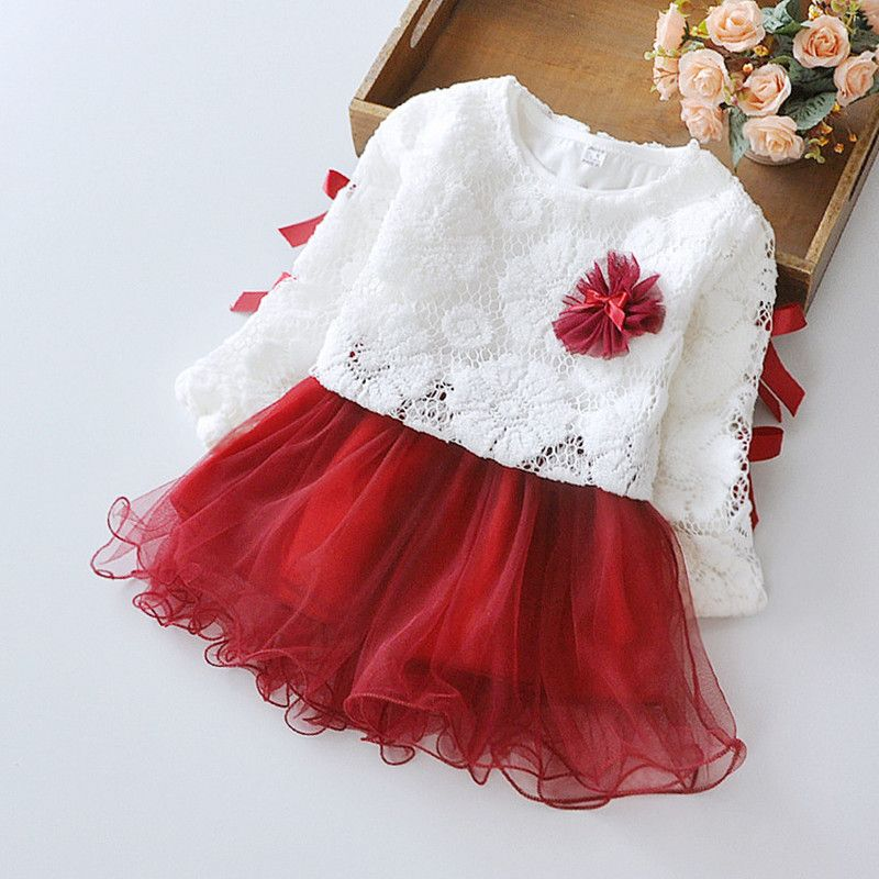 aff9474f2 Bebê recém nascido roupas de menina 2016 primavera alta qualidade manga  comprida Lace Top + vestido véu Set festa de aniversário da roupa do bebê  Set 12 M 3 ...