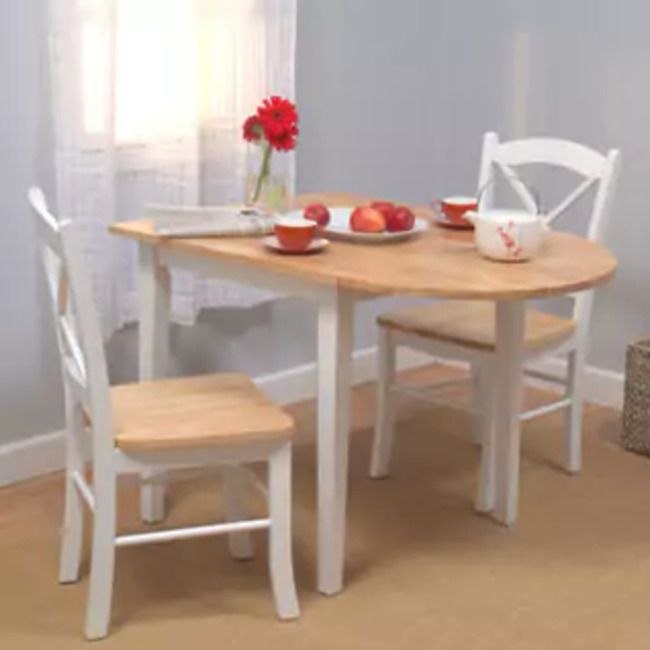 Wood Dining Set Oval Kitchen Drop Leaf Table Breakfast Nook Chairs