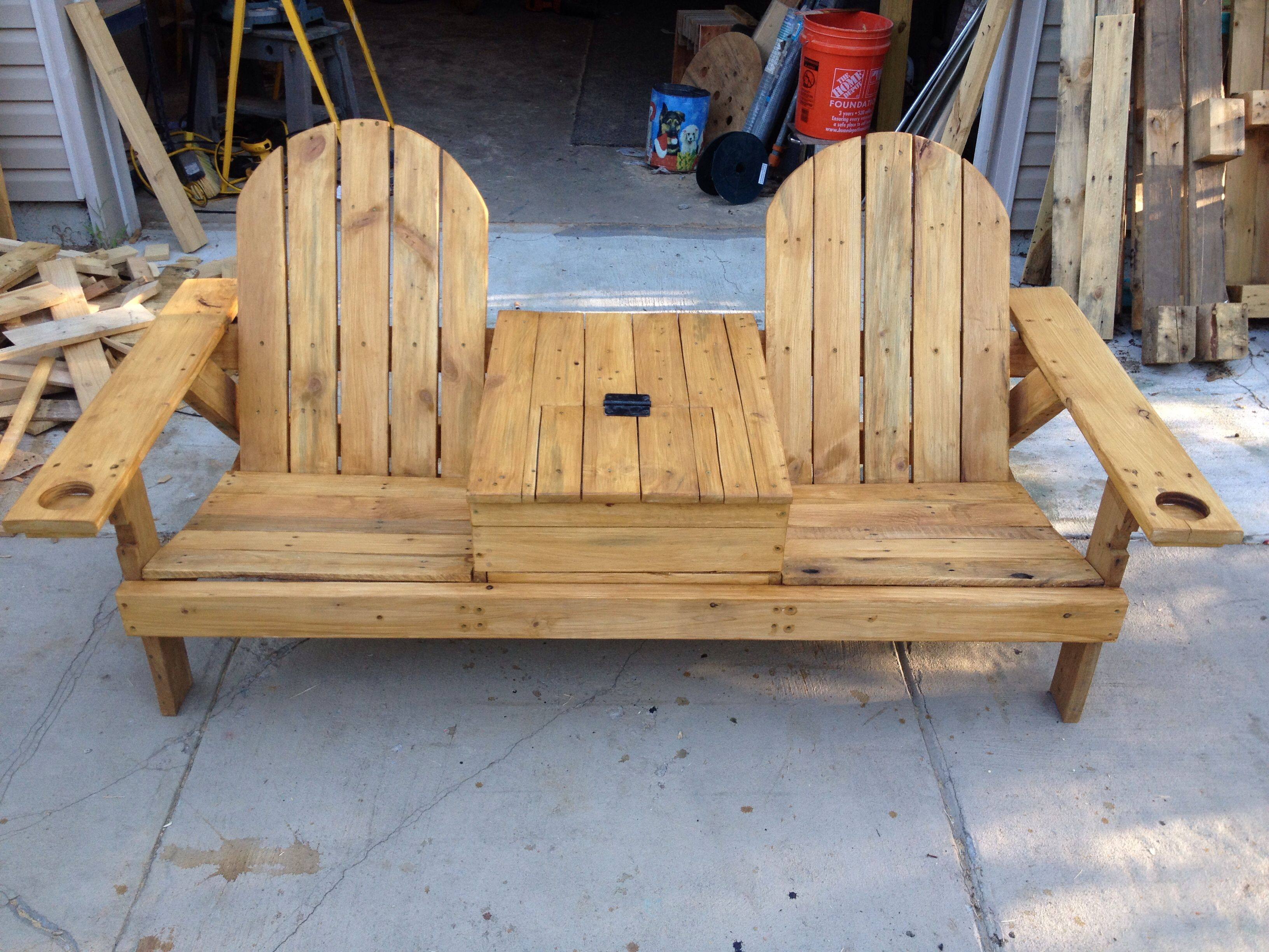 Pallet Wood Bench With Cooler Wooden Lounge Chair Pallet