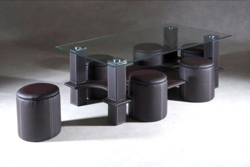 Table Basse 6 Poufs Siassi Chocolat Table Basse Table Basse